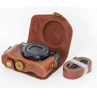 Coffee NEW Leather Case Camera Case Bag Cover for Canon G7x mark II G7X II G7X2 Camera Cover + strap
