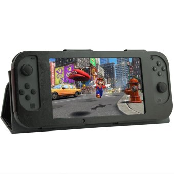 Crazy Horse PU Leather Protective Stand Case with Remote Controller for Nintendo Switch - Black - intl