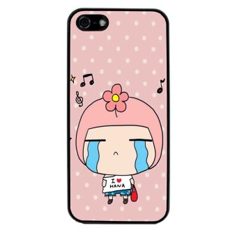 Cute Girl Pattern Phone Case for iPhone 5C (Black)