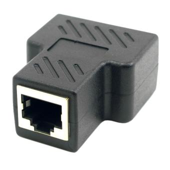 CY UT-004 Cat6 RJ45 8P8C to Dual RJ45 Splitter Network Adapter -Black - intl