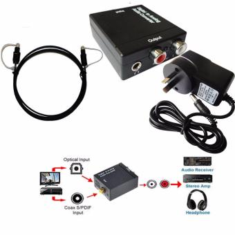 Digital Optical Coax Coaxial Toslink to Analog RCA L/R Audio Converter Adapter - intl