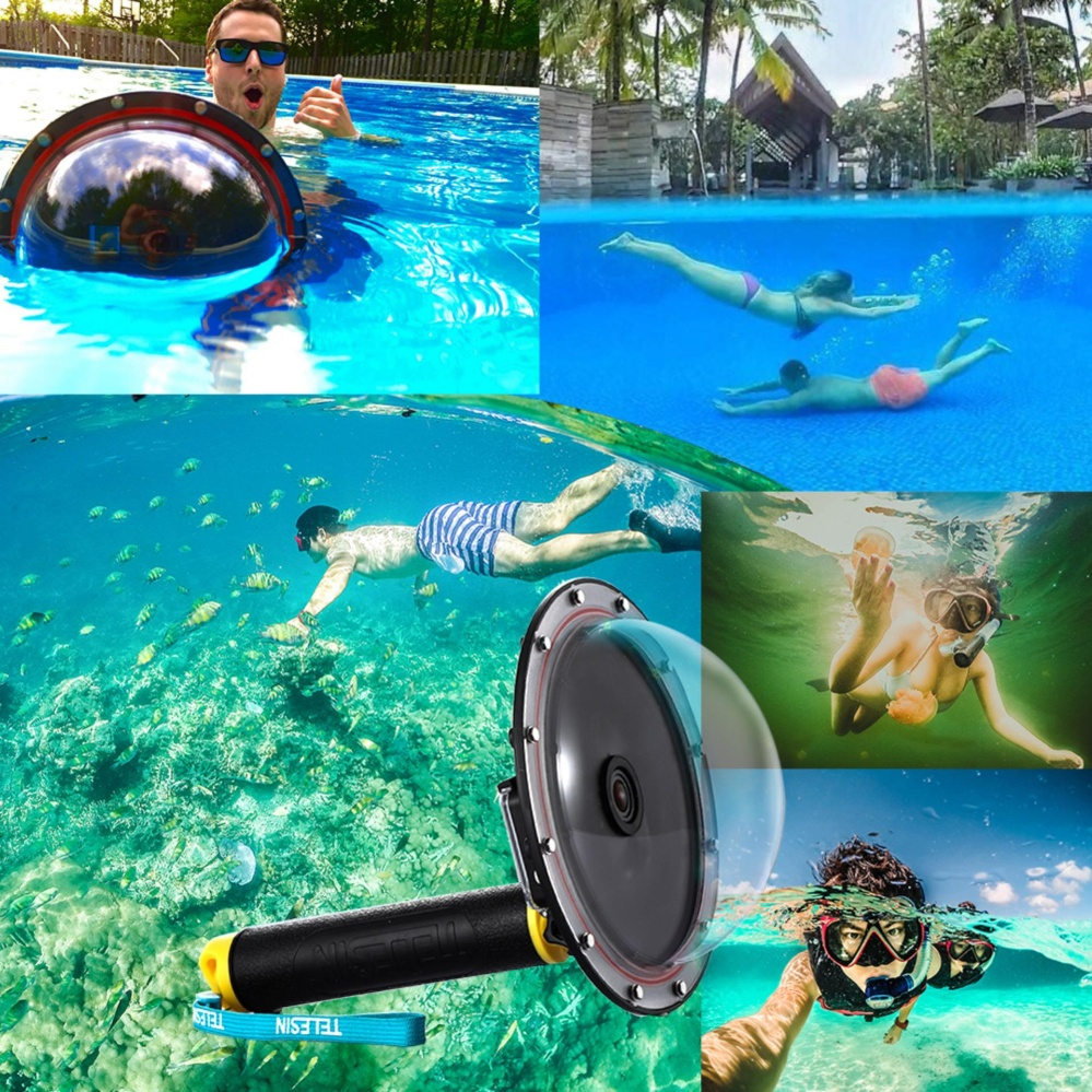 Shoot 4 Inch Diving Underwater Lens Hood Transparent Dome Port Clear Photography For Xiaomi Yi Source Cover Case Gopro Hero3 Yellow