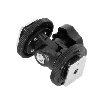 Dual Hot Shoe Mount Adapter Holder Bracket For Video Light StandCamera - intl