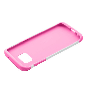 Dual Layer Protective Case Cover for Samsung Galaxy S7 Edge(White/Pink) - 5