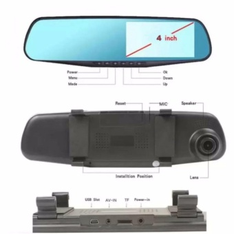 Dual Lens Ultrathin 4.0 Inch Car Rearview Mirror Data Recorder1080P - 3