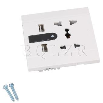 Dual USB Ports Wall Socket With LED (White)