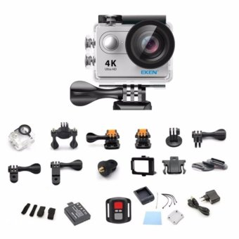 EKEN H9Rse Ultra HD 4K Wi-Fi Waterproof Sports Action Camera & 2.4G Splash proof Remote Shutter (Silver) with 3 Pieces Front Skin Covers and Monopod - 5