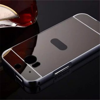 Elaike For HTC One M8 2 in 1 Luxury Aluminum Metal Mirror PC Phone Cover Case (Black) - intl