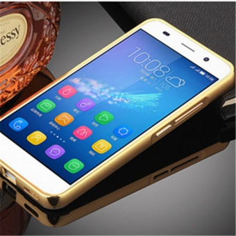 Elaike For Huawei Y6II 2 in 1 Luxury Aluminum Metal Mirror PC PhoneCover Case (Gold) - intl - 2