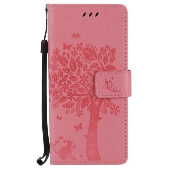 Embossed Wallet Flip Case Shell for Samsung Galaxy S8 (Pink) - intl