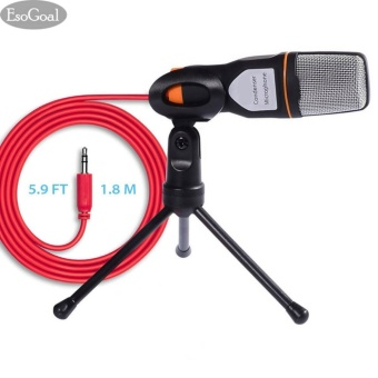 EsoGoal USB Professional Condenser Sound Podcast Studio Recording Microphone Mic with Tripod Stand for PC Laptop Computer Apple Mac Skype (Black) - intl