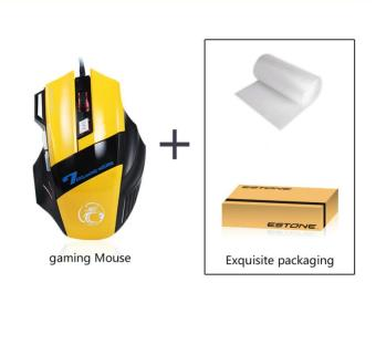 ESTONE X7 Gaming Mice USB Cable Wired Mouse LED Breathing Light - Yellow - intl