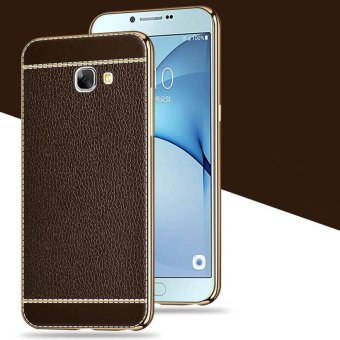 Flexiable Leather Case Plating Bumper Back Cover for Samsung GalaxyA9 PRO /A9 PRO (2016) [Coffee] - intl