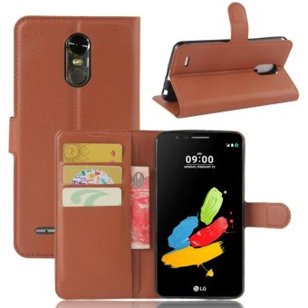 Flip Leather Wallet Cover Case For LG Stylo 3 / Stylus 3 (Brown) -intl