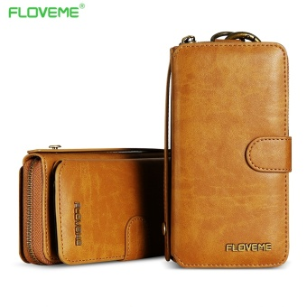 FLOVEME Wallet Leather Zipper Purse Pouch Case For IPhone 7plus / 6Plus / 6s Plus 5.5inch - intl
