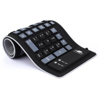 Foldable Silicone Keyboard USB Wired Soft Waterproof Keyboard for Laptop Notebook Black