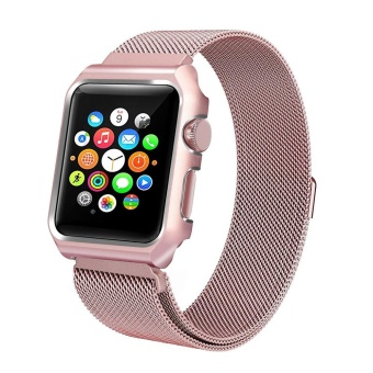 For Apple Watch 38mm Stainless Steel Magnetic Replacement WristBand With Case - intl - 2