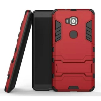 For Huawei G8/G7 Plus Silicon Frame Hard Plastic Shockproof Phone Case With Holder (Red) - intl Price Philippines
