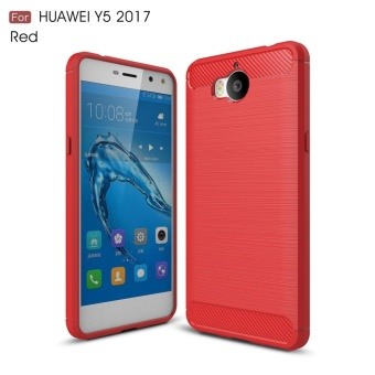 For Huawei Y5 2017 Carbon Fiber Brushed Texture Slim TPU Back Case(Red) - intl