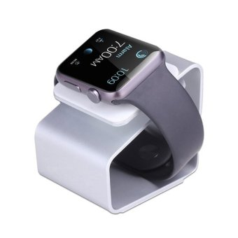 For iWatch Aluminum Charging Stand Station 38mm 42mm Holder forApple Watch Charging-Silver