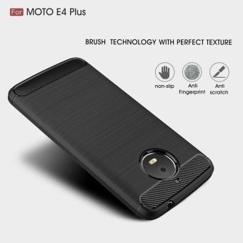 For Motorola Moto E4 Plus Carbon Fiber Brushed Texture Slim TPU Back Case (Navy) - intl - 2