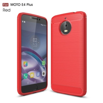 For Motorola Moto E4 Plus Carbon Fiber Brushed Texture Slim TPU Back Case (Red) - intl