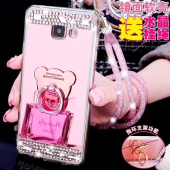 For Samsung Galaxy A7 2017 A720 Casing Fashion Phone Case Mirror Phone Cover With Ring Holder - intl - 4