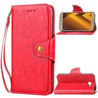 For Samsung Galaxy A7 (2017) A720 Leather Wallet Case Flip StandFull Body Cover (Red) - intl
