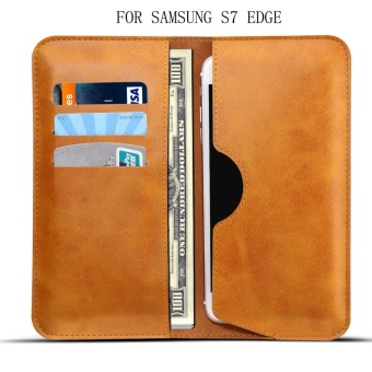 For SAMSUNG S7 EDGE Leather Card Slot Leather Flip Cover Phone Case- intl