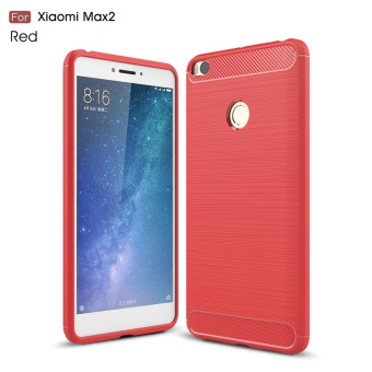 For Xiaomi Mi Max 2 Carbon Fiber Brushed Texture Soft TPU Back Case(Red) - intl