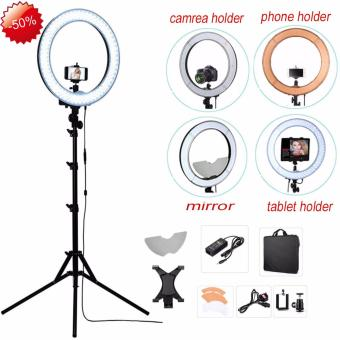 "FOSOTO Camera Photo RL-18"" 55W 240 LED 5500K Lamp PhotographyDimmable Video Ring Light With Mirror/Light Stand/Cameraholder/Tablet holder - intl Price Philippines"