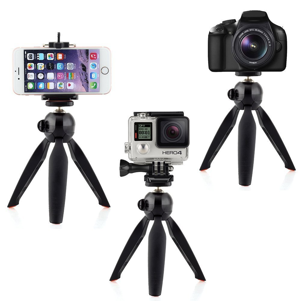 ... FOSOTO YT-228 Mini Tripod Mount with Phone Holder Clip forCellphone Digital Camera GoPro Hero ...