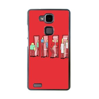 Freaky Funny Pattern Phone Case For Huawei Mate 7 (Red)