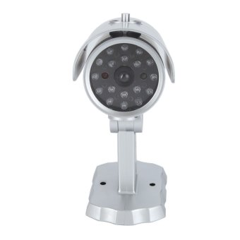 (Free Warning Sticker) Realistic Looking Simulated SurveillanceWireless Fake Dummy Security Camera with Motion Detecting SensoredRed Flashing Light (Silver) - intl