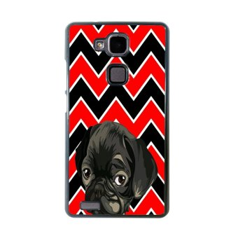 French Bulldog Chevron Pattern Phone Case for Huawei Mate 7 (Black)