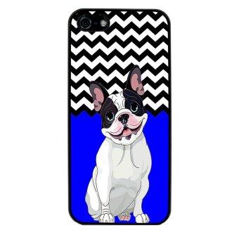 French Bulldog Chevron Pattern Phone Case for iPhone 4/4S (Black)