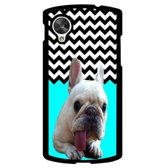 French Bulldog Chevron Pattern Phone Case for LG Nexus 5 (Green)
