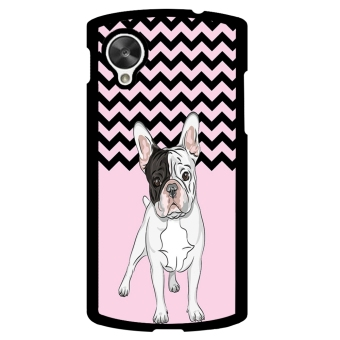 French Bulldog Chevron Pattern Phone Case for LG Nexus 5 (Pink)