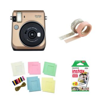Fujifilm Instax Mini 70 Instant Camera (Stardust Gold) with InstaxFilm Twin Pack, Photo Hangers and Washi Tapes Bundle