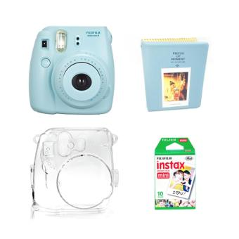 Fujifilm Instax Mini 8 Instant Camera (Blue) with Instax Film 10Sheets, Crystal Case and Album (Blue) Bundle