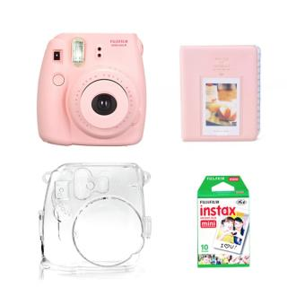 Fujifilm Instax Mini 8 Instant Camera (Pink) with Instax Film 10Sheets, Crystal Case and Album (Pink) Bundle