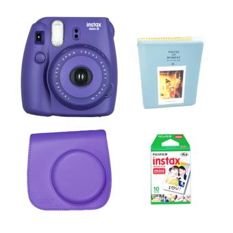 Fujifilm Instax Mini 8 Instant Camera (Purple) with Instax Film 10Sheets, Camera Bag (Purple) and Album (Blue) Bundle