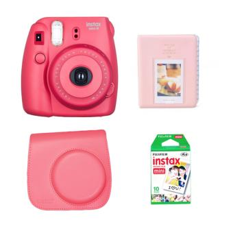 Fujifilm Instax Mini 8 Instant Camera (Red) with Instax Film 10Sheets, Camera Bag (Red) and Album (Pink) Bundle