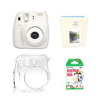Fujifilm Instax Mini 8 Instant Camera (White) with Instax Film 10Sheets, Crystal Case and Album (White) Bundle
