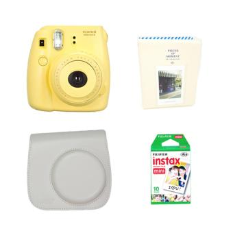 Fujifilm Instax Mini 8 Instant Camera (Yellow) with Instax Film 10Sheets, Camera Bag (White) and Album (White) Bundle