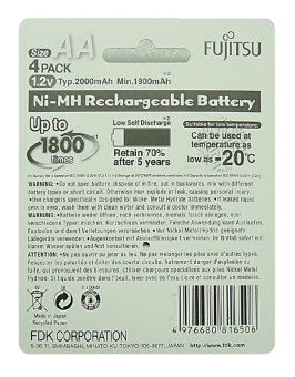 Fujitsu Ready-to-Use AA Rechargeable Batteries (White) Set of 4 - picture 2