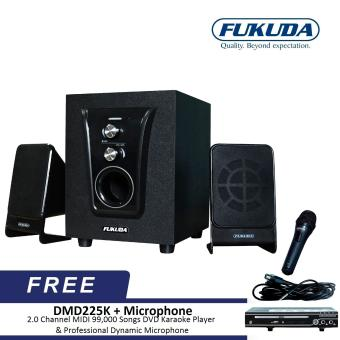 Fukuda FHT100I 2.1 Channel Home Theater Speaker bundle with DMD225K 2.0 Channel MIDI 99,000 Songs DVD Karaoke Player and Microphone
