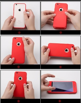 Full-Body Case For Samsung Galaxy J7 Prime Soft TPU Matte FinishSlim Cover 2 in 1 Full Coverage Protection with Tempered GlassScreen Protector (Red) - intl - 5