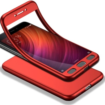 Full-Body Case For Xiaomi Redmi Note 4X Soft TPU Matte Finish Slim Cover 2 in 1 Full Coverage Protection with Tempered Glass Screen Protector Red - intl
