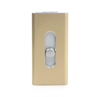 Full Size Flash Drive 16GB Micro USB Lightning/OTG USB Flash Drive for iPhone 6 5 5s 5c iPod iPad Pendrive (Gold) - Intl